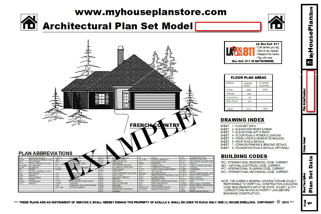 Example House Plan Cover Sheet