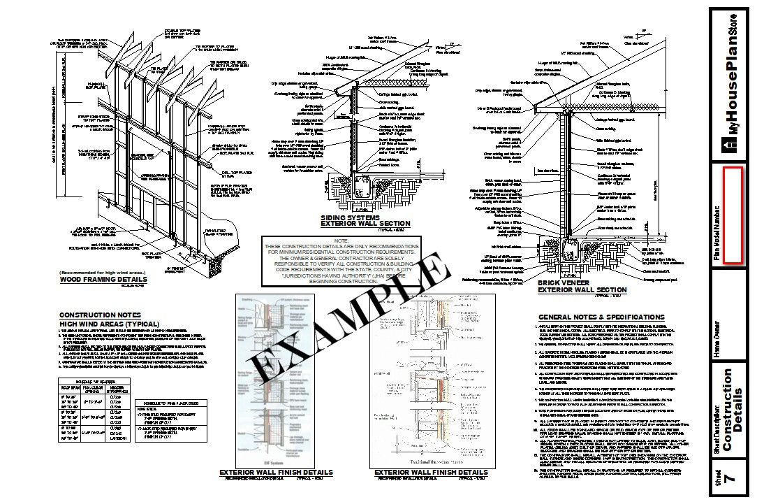 Example House Plan Construction Details Plan Sheet