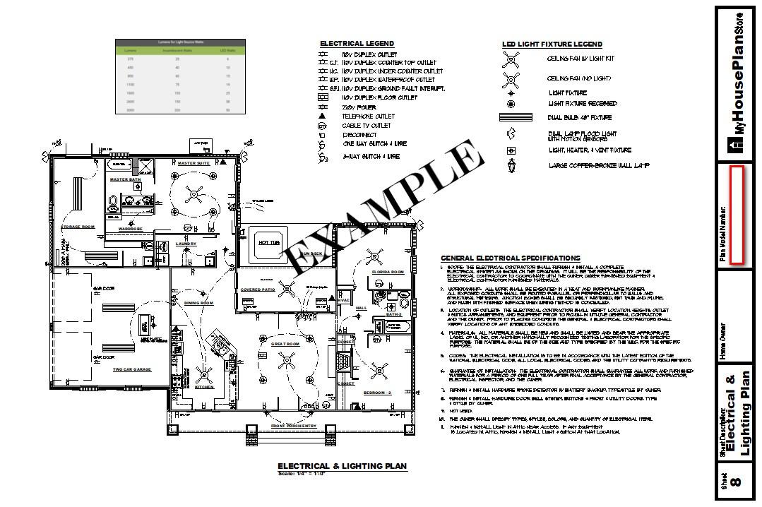 Example House Plan Electrical Plan Sheet