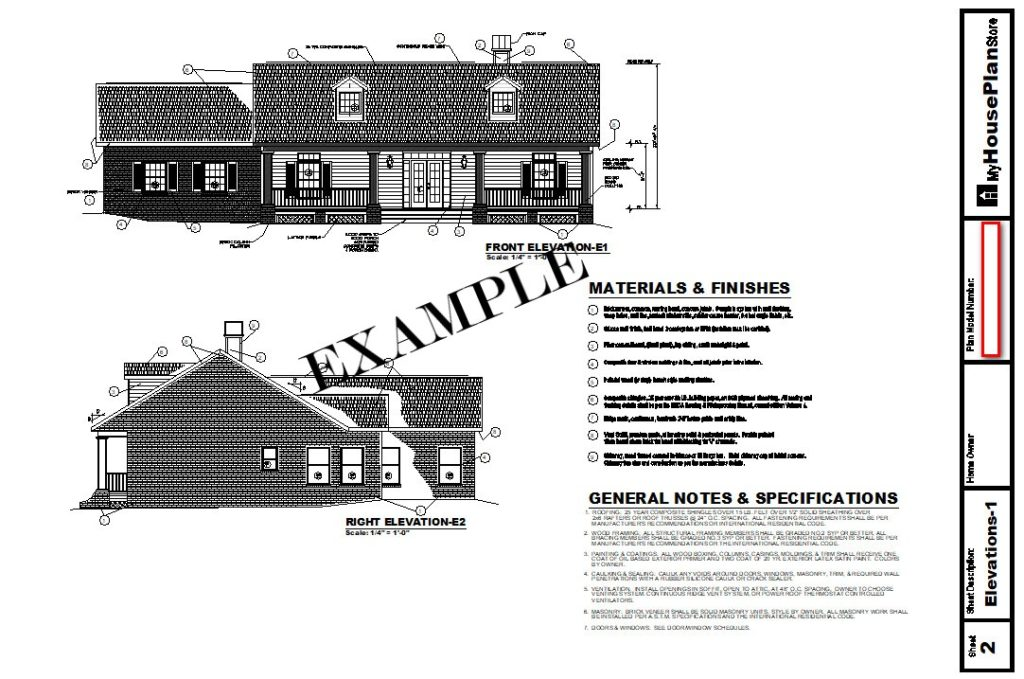 Example House Plan Elevation Sheet