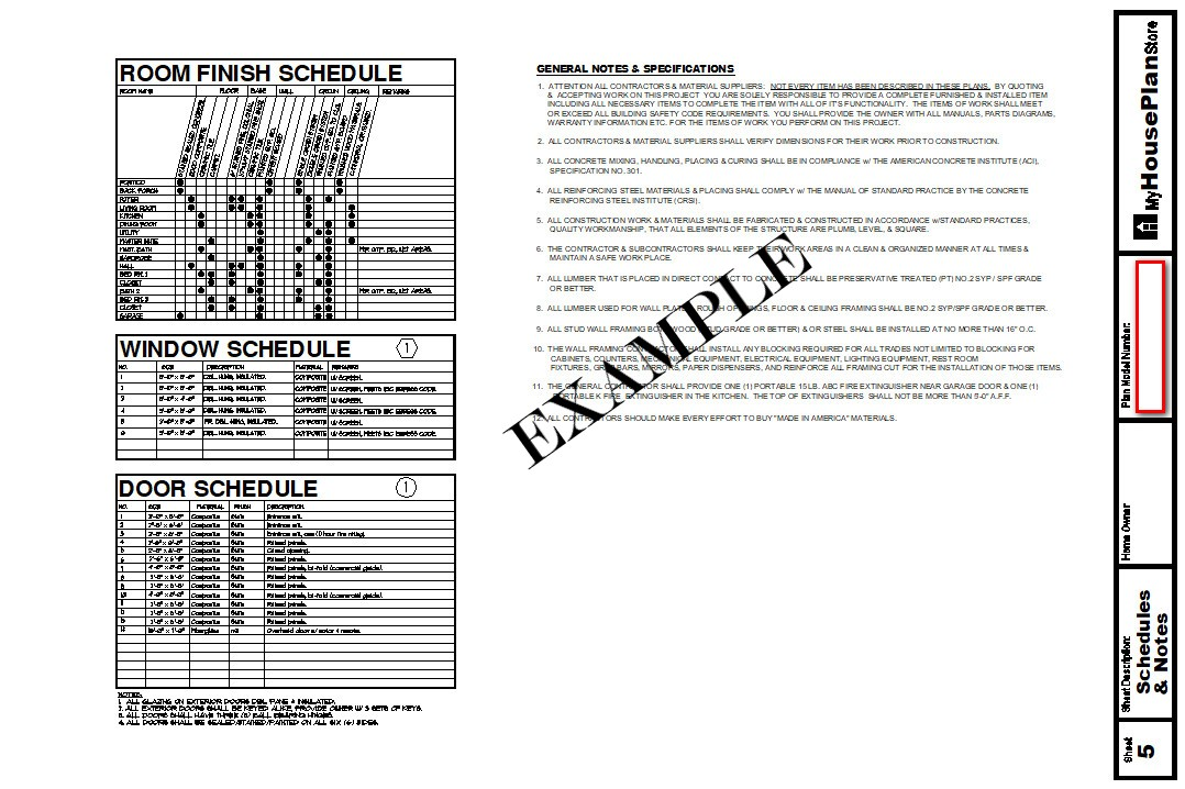 Example House Plan Schedules Sheet