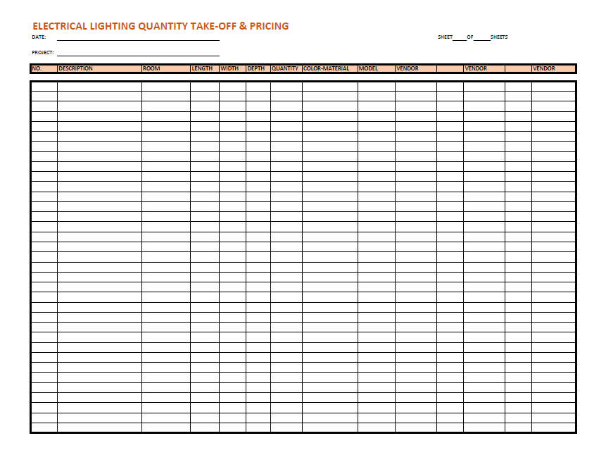 Electrical Lighting Listing & Pricing Sheet