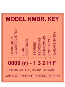 House Plan Model Number Key